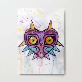 Majora's Mask Watercolour Metal Print