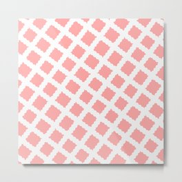 Coral Pink & White Diagonal Grid Pattern- Black & Pink - Mix & Match with Simplicity of Life Metal Print