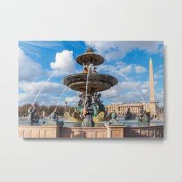 The Maritime Fountain at place de la Concorde - Paris, France Metal Print