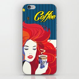 """""""Beautiful Fashion Woman and Coffee Cup"""" POP-ART poster, Retro, Design iPhone Skin"""