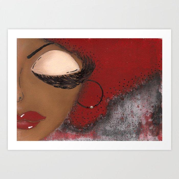 Crimson and Cream Sassy Girl Art Print