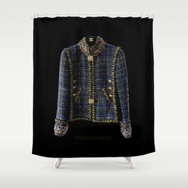 coco vintage blue and gold jacket Shower Curtain