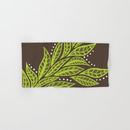 Floral tropical green leaves on brown background Hand & Bath Towel