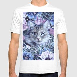 Cat In Flowers. Winter T-shirt