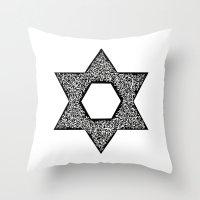 jewish Throw Pillows featuring Star of David (Jewish star) by ZannArt Originals