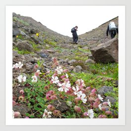 Watercolor People in Nature, OS, Adult 20, Hauganes, Iceland Art Print