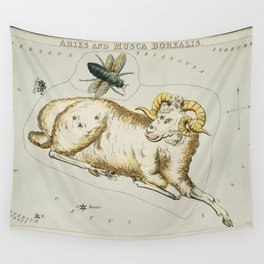 Sidney Halls (1831) astronomical chart  of Aries and Musca Borealis Wall Tapestry