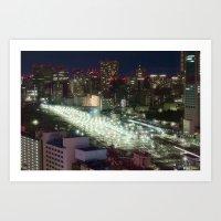 Shinagawa Rails at Night Art Print
