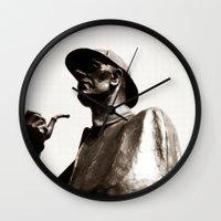 sherlock holmes Wall Clocks featuring Sherlock Holmes by sopheyrac