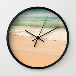 beach. Sea Glass ocean wave photograph. Wall Clock