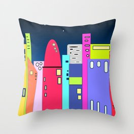 City in Space Bright Coloured Art Throw Pillow