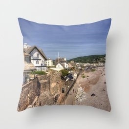 Sidmouth Summer Seascape  Throw Pillow