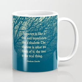 Tree of Character VINTAGE BLUE / Deep thoughts by Abe Lincoln Coffee Mug