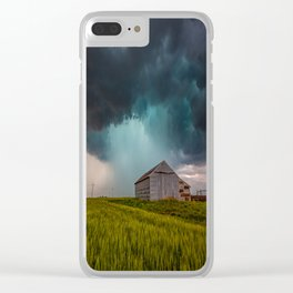 Rainy Day - Storm Passes Behind Barn in Southwest Oklahoma Clear iPhone Case