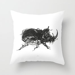 Beetle 1. Black on white background Throw Pillow