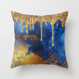 Gold Rain on Indigo Marble Throw Pillow