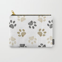 Doodle grey and gold paw print seamless fabric design repeated pattern background Carry-All Pouch