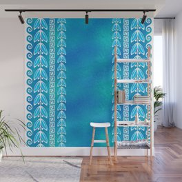 Blue Teal Glass Greek  Pattern Wall Mural