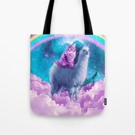 Rainbow Llama - Cat Llama Tote Bag