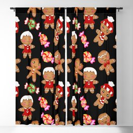 Cute decorative hygge pattern. Happy gingerbread men and sweet xmas caramel chocolate candy. Xmas Blackout Curtain