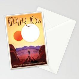 NASA Retro Space Travel Poster #8 Kepler 16b Stationery Cards