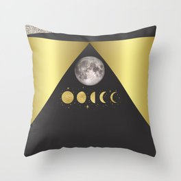 Elegant Abstract Gold Moon Phases Throw Pillow