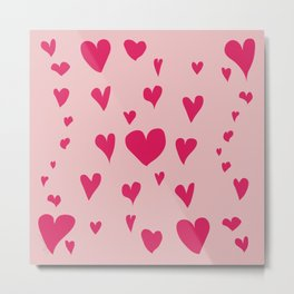 Imperfect Hearts - Pink/Pink Metal Print