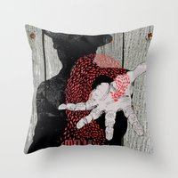 tom waits Throw Pillows featuring Tom Waits by J.C.D