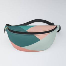 Colorful geometric design in green and coral Fanny Pack
