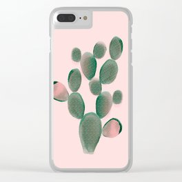Watercolored Cactus on Pink Clear iPhone Case