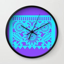 PAPEL PICADO - purple Wall Clock