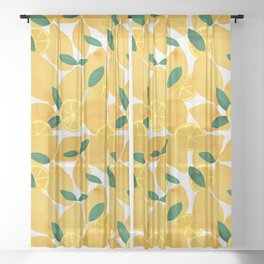 lemon mediterranean still life Sheer Curtain