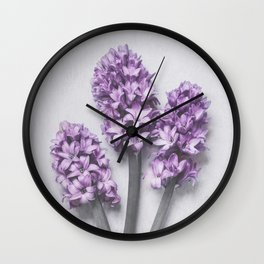 Three Light Purple Hyacinths Wall Clock