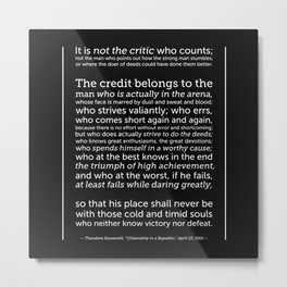 Daring Greatly Quote Metal Print
