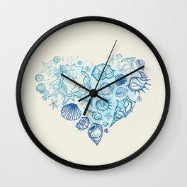 Heart of the shells. Hand drawn illustration Wall Clock