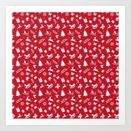 Red Christmas Pattern GIft Art Print