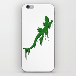 Distressed Green Salamander With Paint Drip iPhone Skin