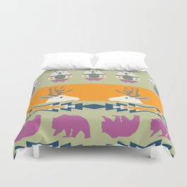 Colorful Christmas pattern with deer and bears Duvet Cover