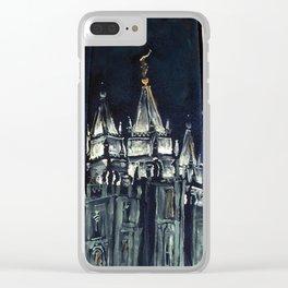 Salt Lake City Temple Tie Clear iPhone Case