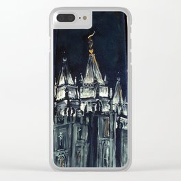Salt Lake City Temple Tie Clear iPhone Case
