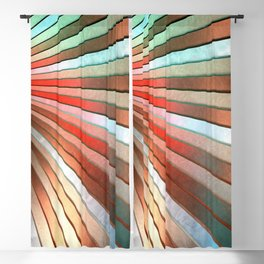 Chromatic Fan - Copper, Red and Turquoise Blackout Curtain
