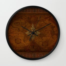 Antique Steampunk Compass Rose & Map Wall Clock
