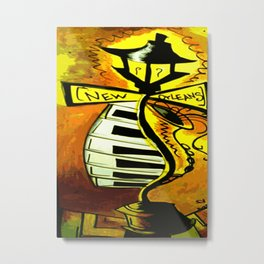 Black and gold New Orleans street lamp with piano keys Metal Print