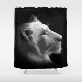 Wild White Lion Portrait Shower Curtain
