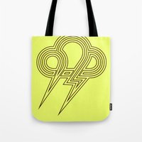 lightning Tote Bags featuring Lightning by Heiko Hoos