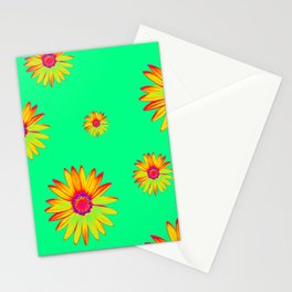 Flowers on Green Stationery Cards