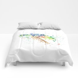 Sea Turtle Colorful Watercolor Painting Comforters