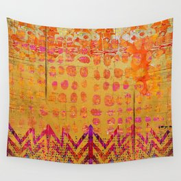 Gold and Orange Dot Abstract Art Collage Wall Tapestry