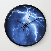 lightning Wall Clocks featuring Lightning by Svetlana Sewell