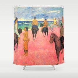 """Paul Gauguin """"Horseman on the Beach (Hiva Hoa)"""" Shower Curtain"""